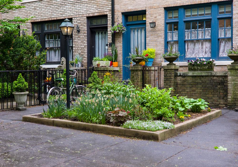 A raised bed garden full of green plants on the sidewalk of a city environment.
