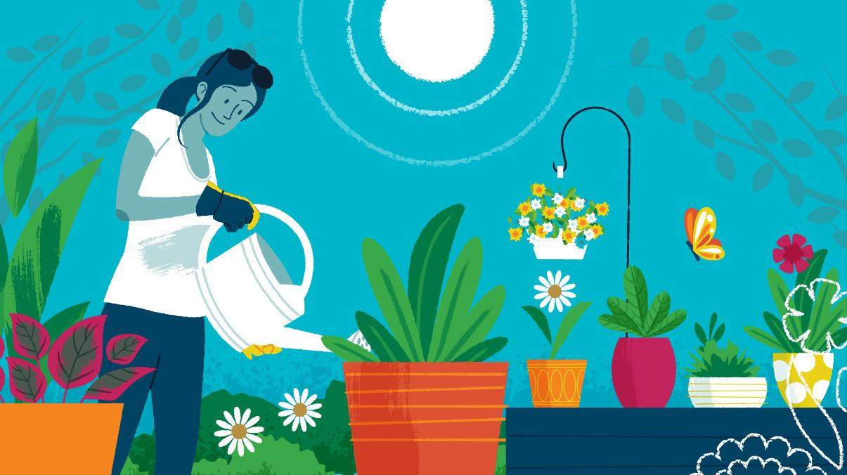 Miraculous Gardening: Woman watering potted plants with watering can