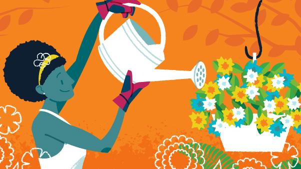 Summer Garden Care: illustration of woman using watering can to water hanging flower basket