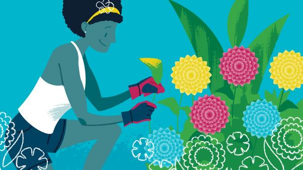 Summer Garden Care: illustration of woman removing yellow leaf from flowering plant