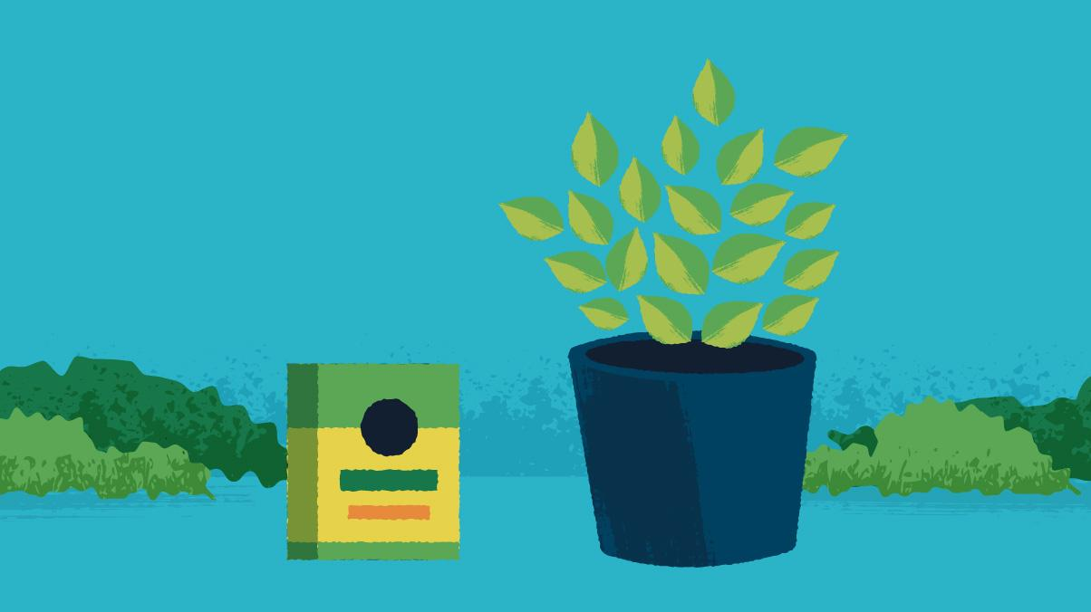 Illustration of abasil potted herb plant next to Miracle-Gro edible plant food.