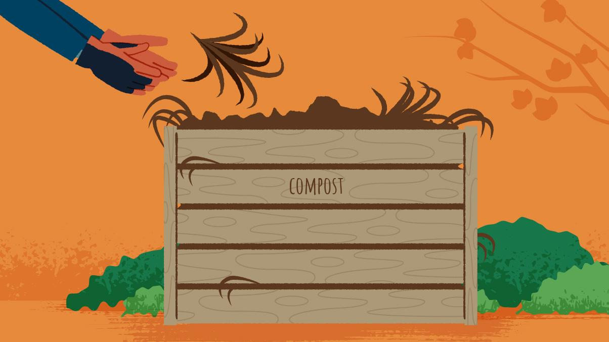 Illustration of a man building a compost bin and adding dead Fall leaves to it.