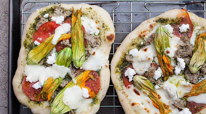Grilled Pizzas with Pesto, Tomatoes, and Squash Blossoms