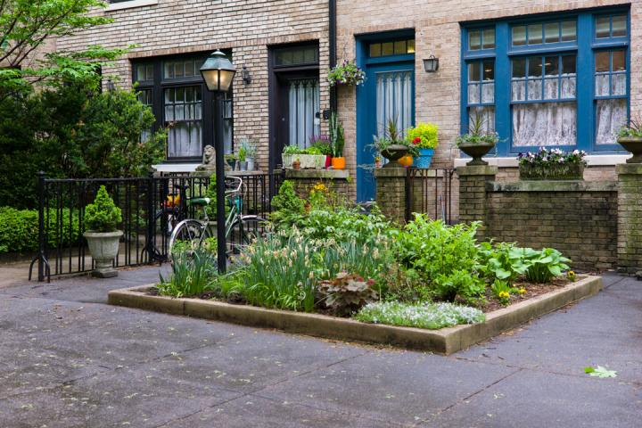 Raised bed garden on sidewalk with green foliage and flowers.