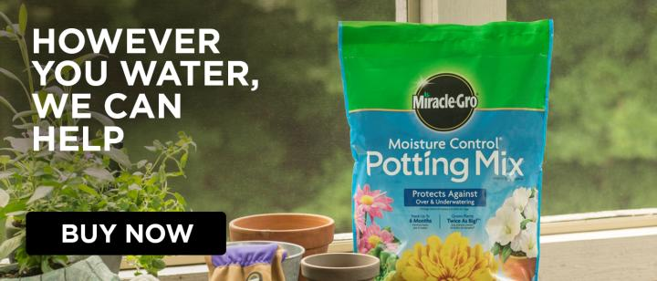 However You Water, We Can Help: Bag of Miracle-Gro® Moisture Control® Potting Mix on bench with empty pots, gloves, and plants