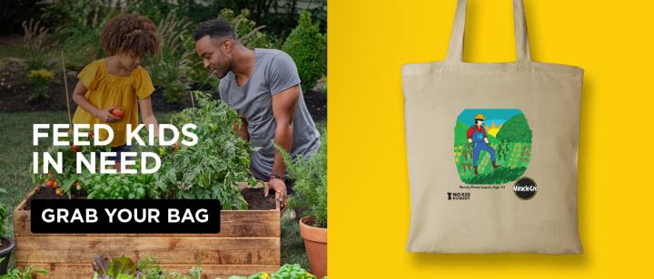 """A split screen shows a father and daughter tending to their raised bed on the left, and on the right, a GroMoreGood™ Harvest Donation Bag against a yellow background."""""""