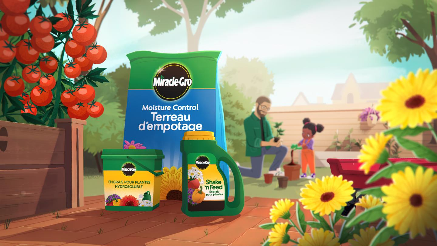 Illustration of miracle gro products in a backyard space.
