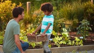 Reasons to Grow in a Raised Bed: father and son with raised bed