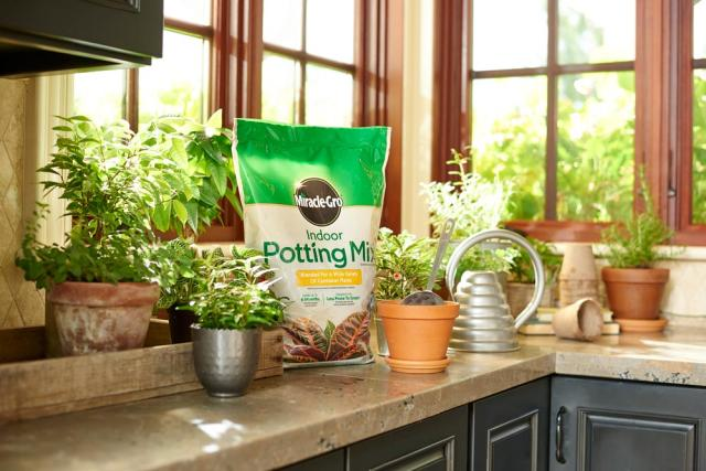 Miracle-Gro® Indoor Potting Mix on counter