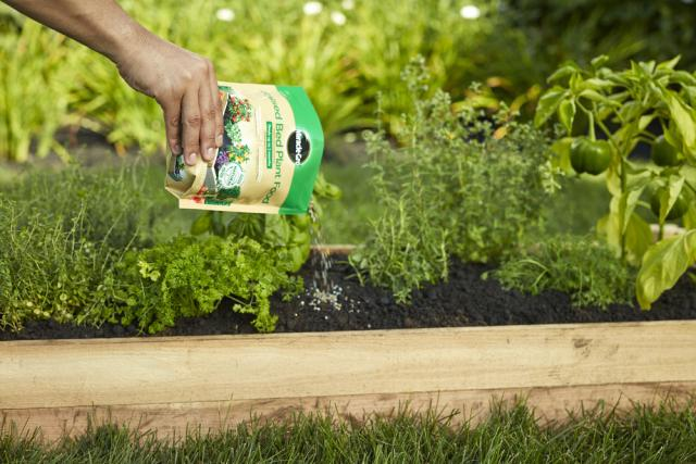 pouring Miracle-Gro® Raised Bed Plant Food