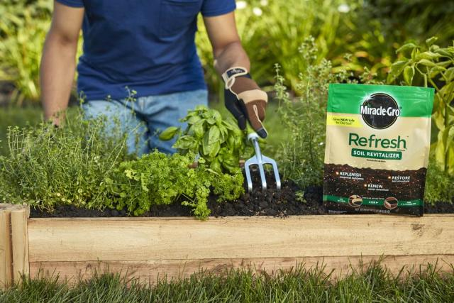 Miracle-Gro® Refresh 1™ Soil Revitalizer in raised bed