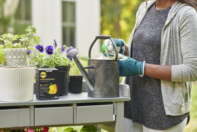 Consumer spooning plant food into watering can