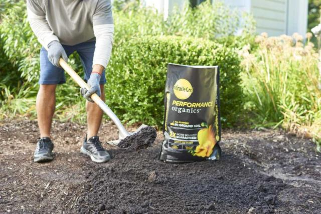 shoveling in-ground soil