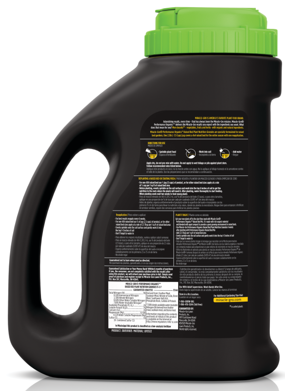 Back label of Miracle Gro performance organics raised bed plant nutrition granules