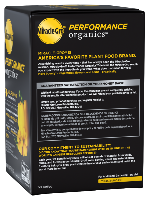 Miracle-Gro® Performance Organics™ All Purpose Plant Nutrition Box Right Side