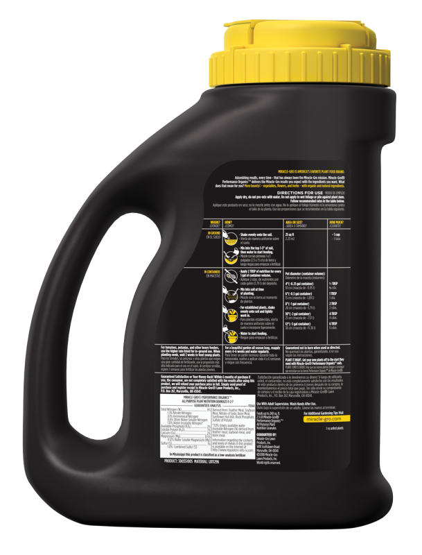 Miracle-Gro® Performance Organics™ All Purpose Plant Nutrition Granules Jug Back