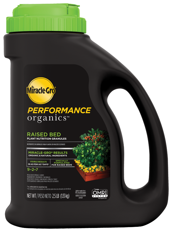 Packaging of Miracle Gro Performance Organics Raised bed plant nutrition granules