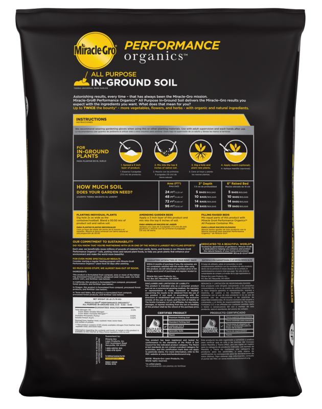 Miracle-Gro® Performance Organics™ All Purpose In-Ground Soil Bag Back