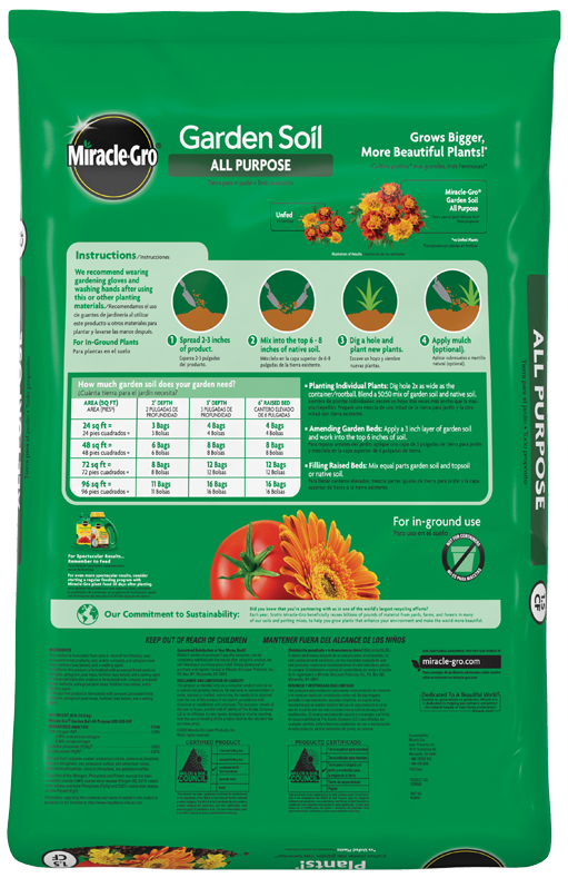 Miracle-Gro® All Purpose Garden Soil Back
