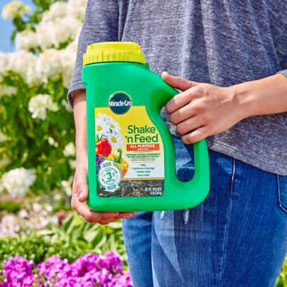 Person holding Miracle-Gro® Shake 'n Feed® All Purpose Plant Food Jug.